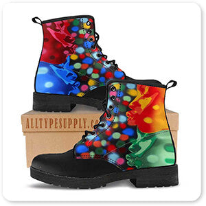Abstract Graffiti Artist Collection Atom Full Image - Men's Women's Leather Boots - EXPRESS DELIVERY!