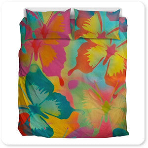Abstract Graffiti Artist Collection Butterflies - King Queen Twin Duvet Bedding Set