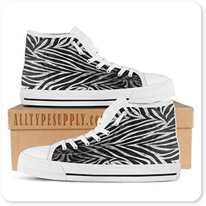 Animal Patterns Collection v1.15-A - Men's Women's High Low Top Black White Trim Canavas Shoes - EXPRESS DELIVERY! Leopard, Tiger, Zebra, Cheetah, Snake print patterns