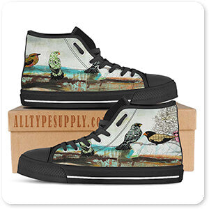 Birds Of Fire Lake - Women's High Top Black Trim Canvas Shoes