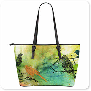 Birds On Watercolor-A - Large Leather Tote Bag