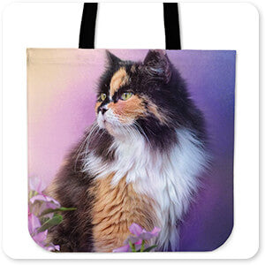 Cat Collection Calico Kitty In The Garden - Canvas Tote Bag
