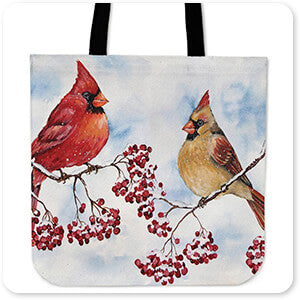 Cardinals And Winter Berries-A - Canvas Tote Bag
