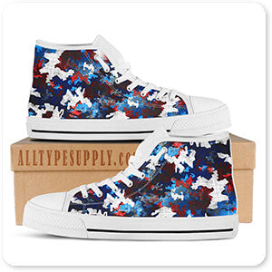 Colored Camoflauge Collection The New Camo Red, White & Blue - Women's High Top White Trim Canvas Shoes