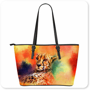 Colorful Expressions Cheetah - Leather Tote Bag