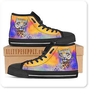 Colorful Expressions Snow Leopard - Men's High Top Black Trim Canvas Shoes