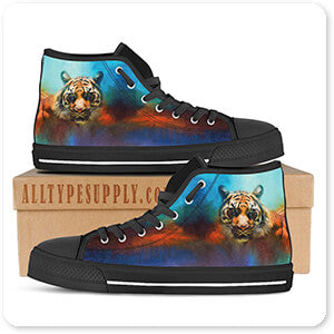 Cat Collection Colorful Expressions Tiger 2 - Women's High Top Black Trim Canvas Shoes
