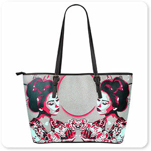 Femme Fatale Collection Mirror Geisha - Large Small Faux Leather Tote Bag - EXPRESS DELIVERY!