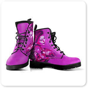 Femme Fatale Collection Purple Geisha - Men's Women's Faux Leather Boots - EXPRESS DELIVERY!