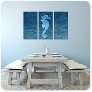 Gypsy Blue Cyanotype Seahorse - 3 Piece Canvas Art