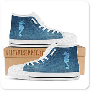 Gypsy Blue Cyanotype Seahorse - Women's High Top White Trim Canvas Shoes