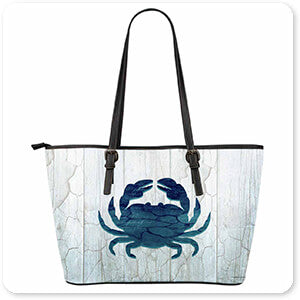 Gypsy Frost Blue Sea Creatures Crab Leather Tote Bag