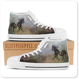 Horses Collection Stepping Out - Women's High Top White Trim Canvas Shoes - EXPRESS DELIVERY!