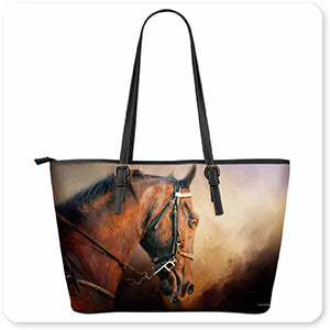 Horses Collection Working The Heat - Large Leather Tote Bag - EXPRESS DELIVERY!
