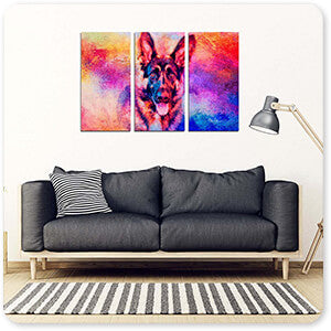Jazzy German Shepherd - 3 Piece Canvas Art - EXPRESS DELIVERY!