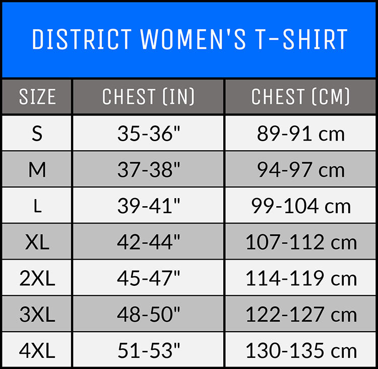 Measurements - Apparel - District Women's T-Shirt - AllTypeSupply.com