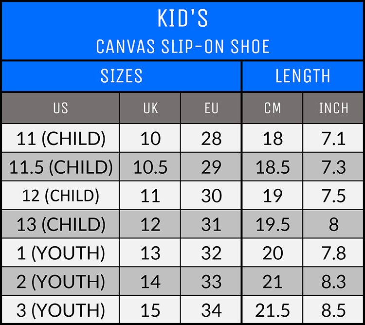 Measurements - Kid's Canvas Slip-On Shoes - AllTypeSupply.com