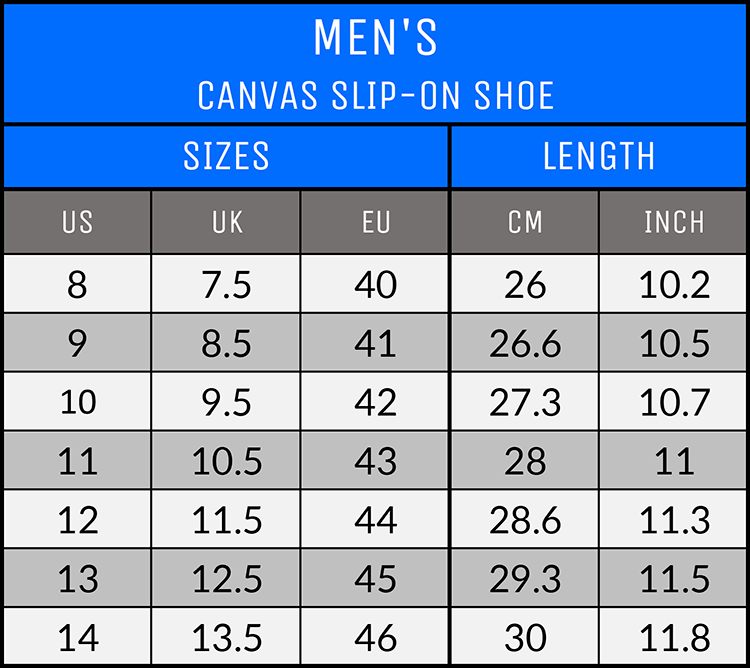 Measurements - Men's Canvas Slip-On Shoes - AllTypeSupply.com