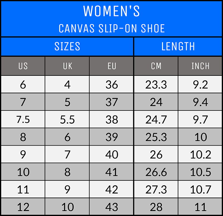 Measurements - Women's Canvas Slip-On Shoes - AllTypeSupply.com