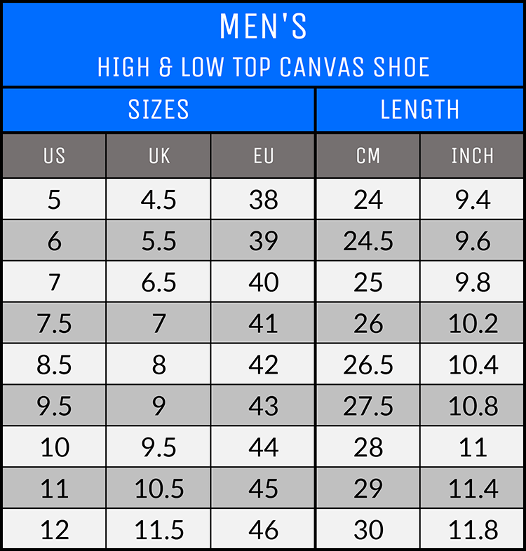 Measurements - Men's Canvas Shoes - AllTypeSupply.com