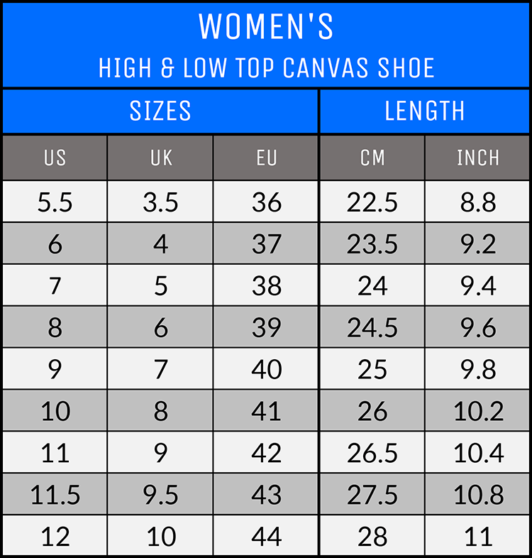 Measurements - Women's Canvas Shoes - AllTypeSupply.com