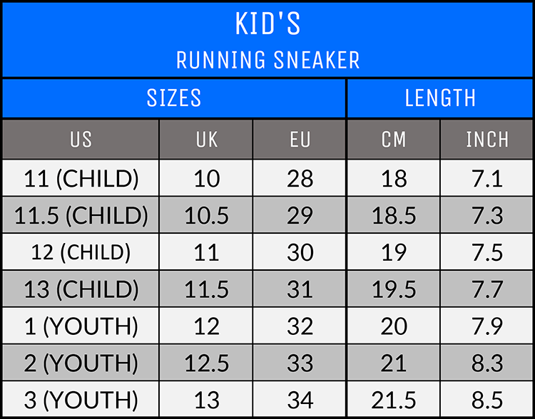 Measurements - Kid's Running Sneakers - AllTypeSupply.com