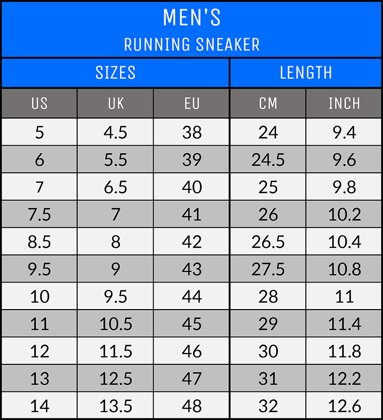 Measurements - Men's Running Sneakers - AllTypeSupply.com