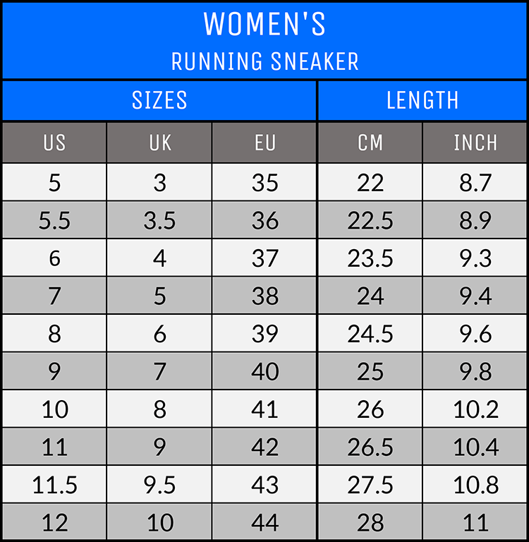 Measurements - Women's Running Sneakers - AllTypeSupply.com