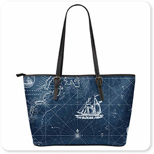 Nautical Blues-A - Large Leather Tote Bag