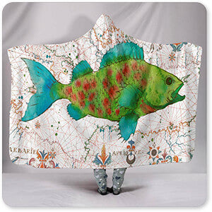 Nautical Treasures Green Fish - Hooded Blanket
