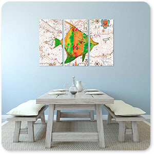 Nautical Treasures Green & Orange Fish - 3 Piece Canvas Art