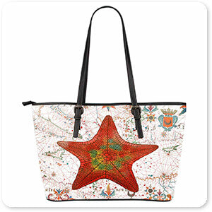 Nautical Treasures Orange Starfish - Large Leather Tote Bag