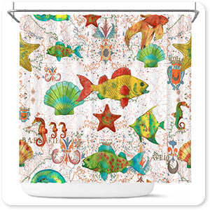 Nautical Treasures Sea Life - Bathroom Shower Curtain