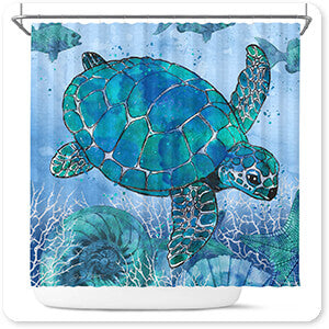 Ocean Blues Sea Turtle - Bathroom Shower Curtain
