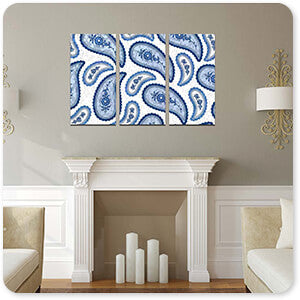Patterns Collection Camo Paisley 4 Blue - Multi-piece Canvas Art - 2 Designs - EXPRESS DELIVERY!