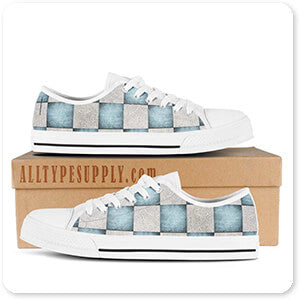 Patterns Collection Decorative Blue & White Checker Pattern - Men's Women's High Low Top Black White Trim Canvas Shoes - EXPRESS SHIPPING!