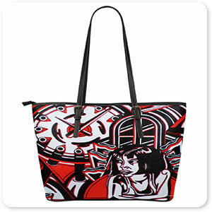 Retro Abstract and Faces Collection Ace Of Spades - Large Leather Tote Bag - EXPRESS DELIVERY!