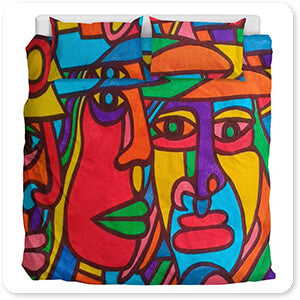 Retro Abstract and Faces Collection Chilean Faces - Duvet Bedding Set