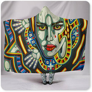 Retro Abstract and Faces Collection Egypt - Hooded Blanket