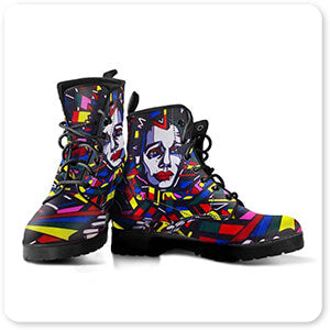 Retro Abstract and Faces Collection Eightball The Painting - Men's Women's Leather Boots - EXPRESS DELIVERY!