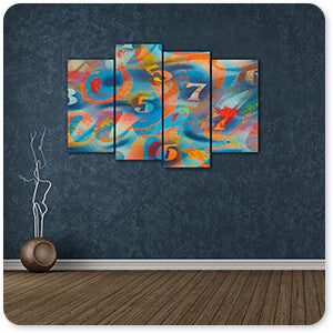 Retro Abstract and Faces Collection Numbers - Multi-piece Canvas Art - 2 Designs - EXPRESS DELIVERY!