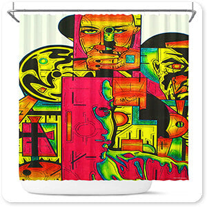 Retro Abstract and Faces Collection Pulp Fiction - Bathroom Shower Curtain - EXPRESS DELIVERY!