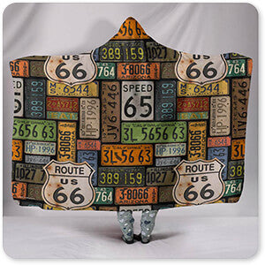 Route 66 License Plates - Hooded Blanket