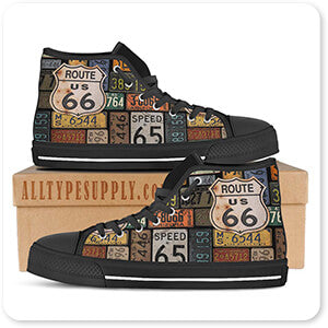 Route 66 License Plates - Women's High Top Black Trim Canvas Shoes