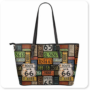 Route 66 License Plates & Bricks - Large Leather Tote Bags - 2 Designs