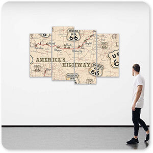 Route 66 Map - Multi-piece Canvas Art - 6 Designs - EXPRESS DELIVERY!