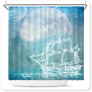 Sailor Away Ship 1 - Bathroom Shower Curtain