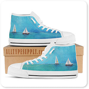 Summer Breeze Two Sailboats - Men's High Top White Trim Canvas Shoes