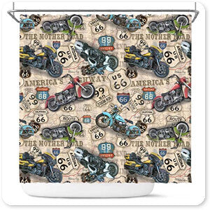 Vintage Motorcycles on Route 66 Classic Rides Beige v3 - Bathroom Shower Curtain