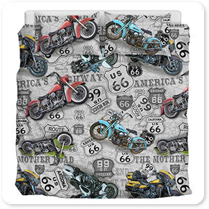 Vintage Motorcycles on Route 66 Classic Rides v3 - Bedding Set - 4 Designs